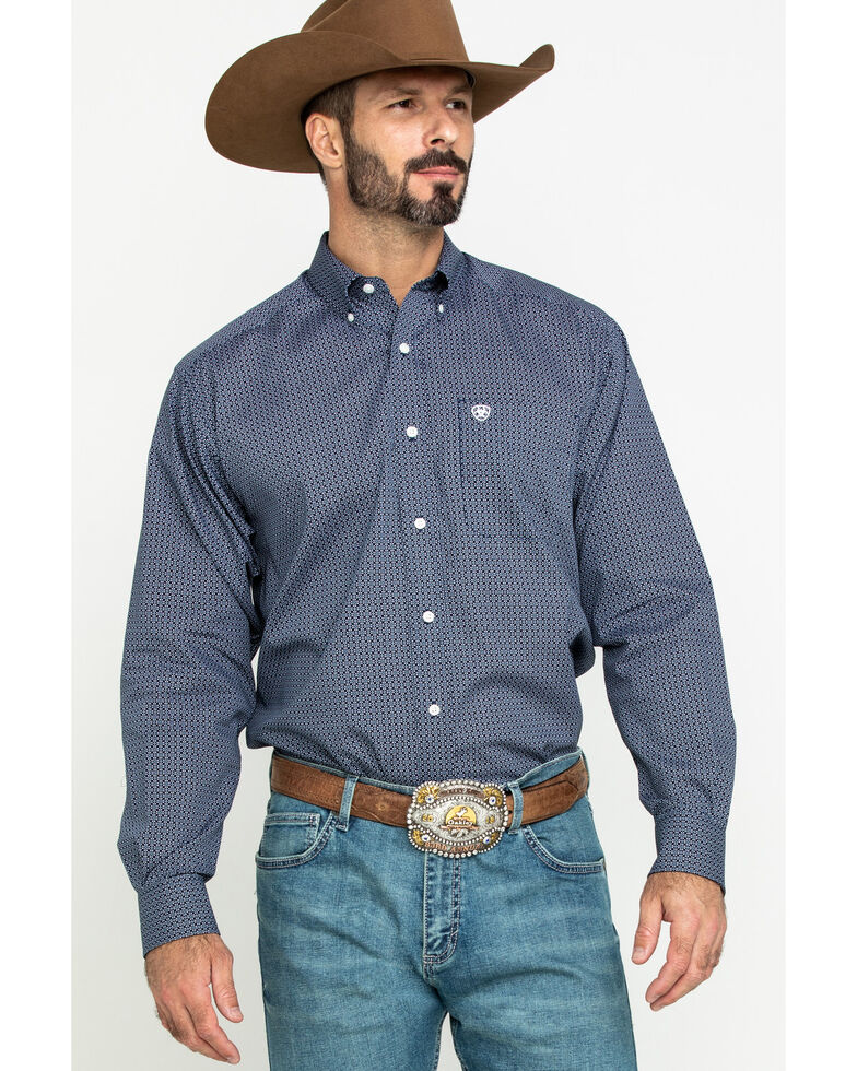 Ariat Men's Wrinkle Free Merritt Small Geo Print Long Sleeve Western Shirt , Multi, hi-res