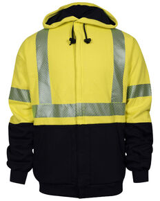 National Safety Apparel Men's 2X-3X FR Vizable Deluxe Zip Front Hooded Work Jacket - Tall, Bright Yellow, hi-res