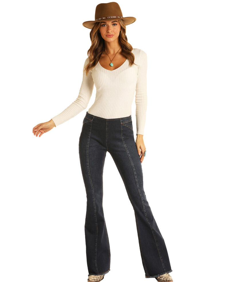 Panhandle Women's Dark Wash Bargain Bell High Rise Flare Jeans, Dark Blue, hi-res