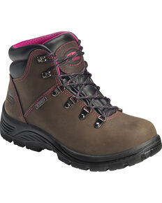 Avenger Women's Waterproof Steel Safety Toe Hiking Boots, Brown, hi-res