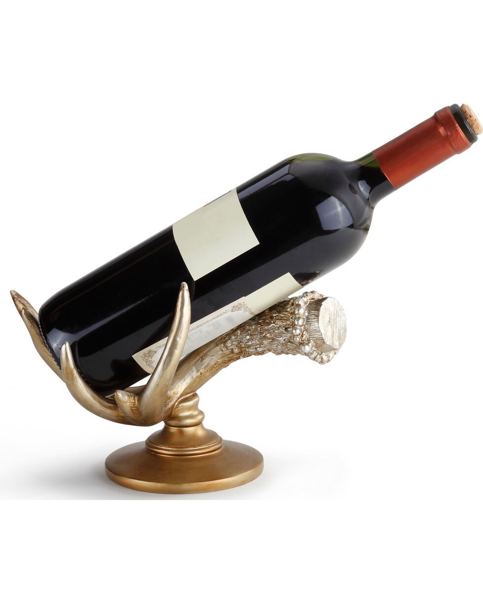 Demdaco Antler Wine Bottle Holder , Gold, hi-res