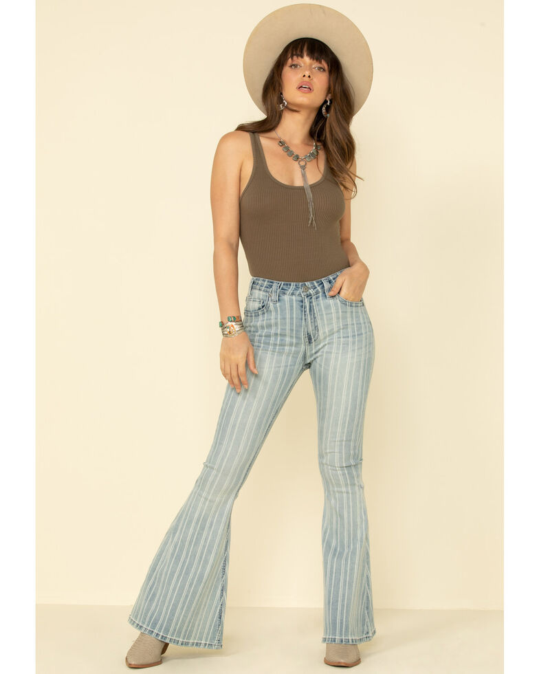 Rock & Roll Denim Women's Light Wash Stripe High Rise Flare Jeans, Blue, hi-res