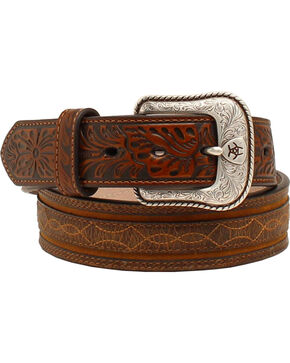 "Ariat 1 1/2"" Embossed Tabs Barbwire Stitch Belt, Brown, hi-res"