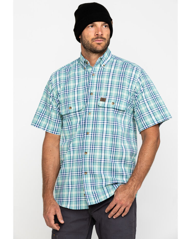 Wrangler Riggs Men's Green Plaid Short Sleeve Work Shirt - Big , Green, hi-res