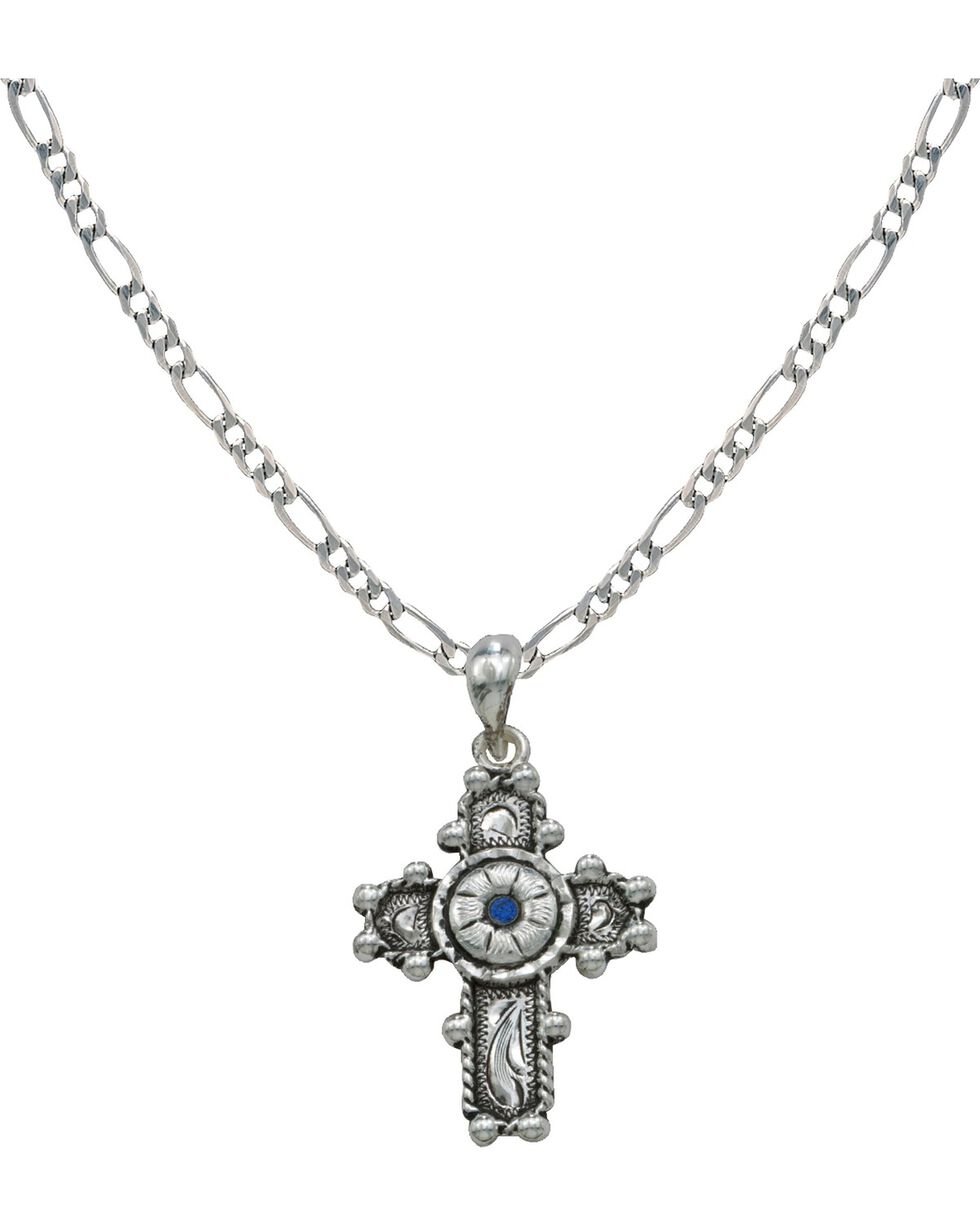 Montana Silversmiths Antique Beaded Flower Cross Charm Necklace, Silver, hi-res