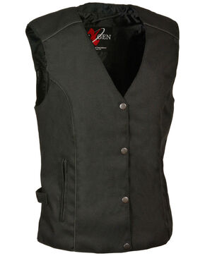 Milwaukee Leather Women's Stud & Wing Embroidered Vest - 4X , Black, hi-res