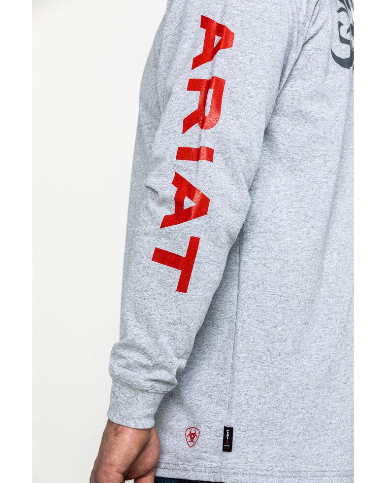 Ariat Men's FR Flame Logo Long Sleeve Work Shirt - Tall , Heather Grey, hi-res