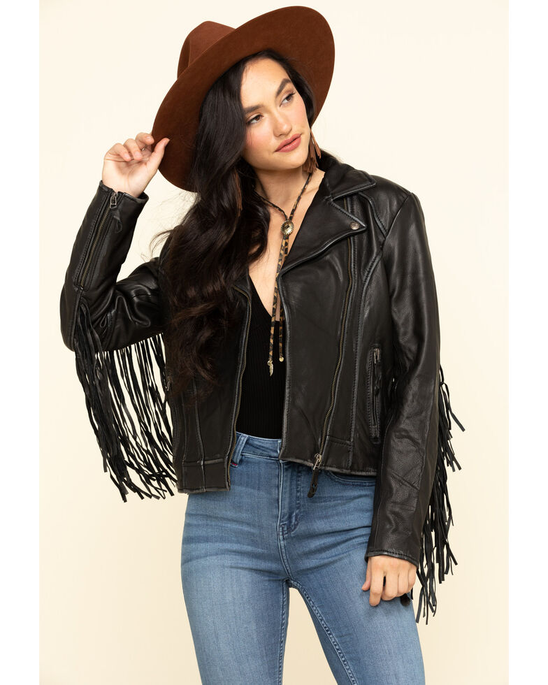 STS Ranchwear Women's Black Chenae Fringe Leather Jacket, Black, hi-res