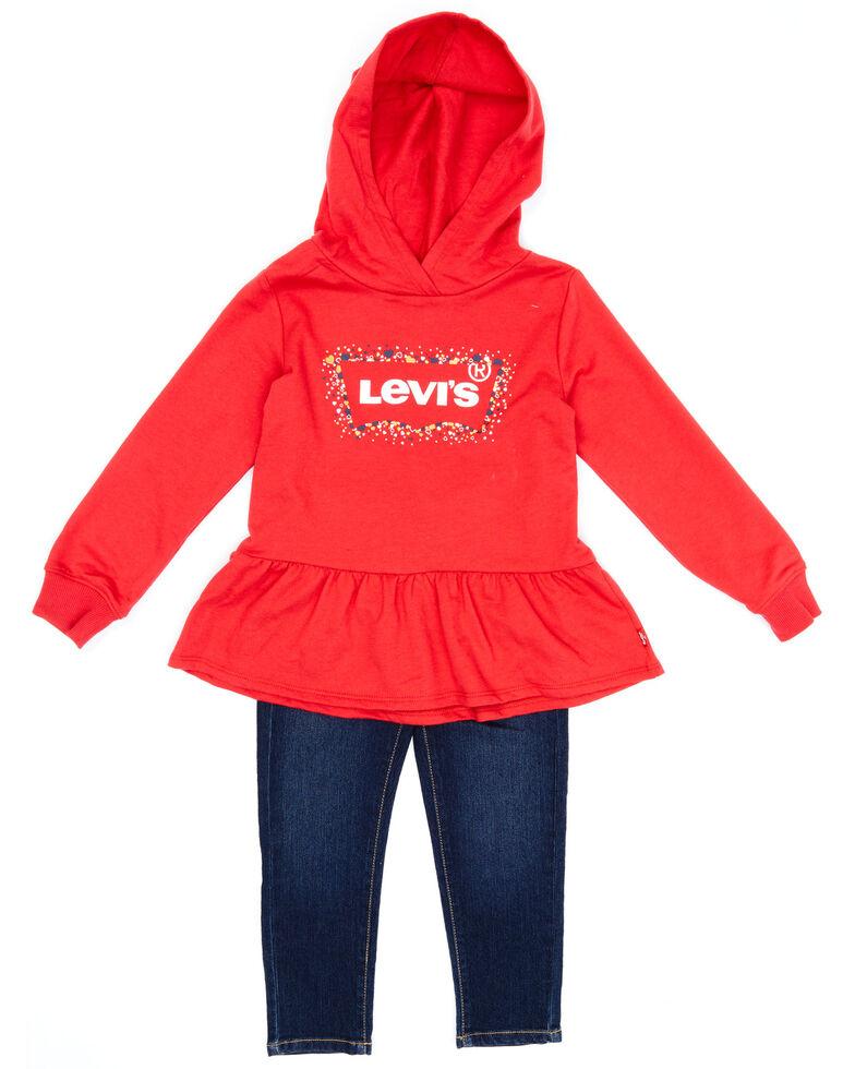 Levi's Toddler Girls' Red Peplum Logo Ruffle Pullover Sweatshirt & Jean Set, Red, hi-res