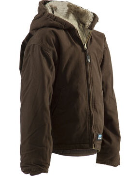 Berne Youth Boys' Washed Sherpa-Lined Hooded Jacket, Bark, hi-res