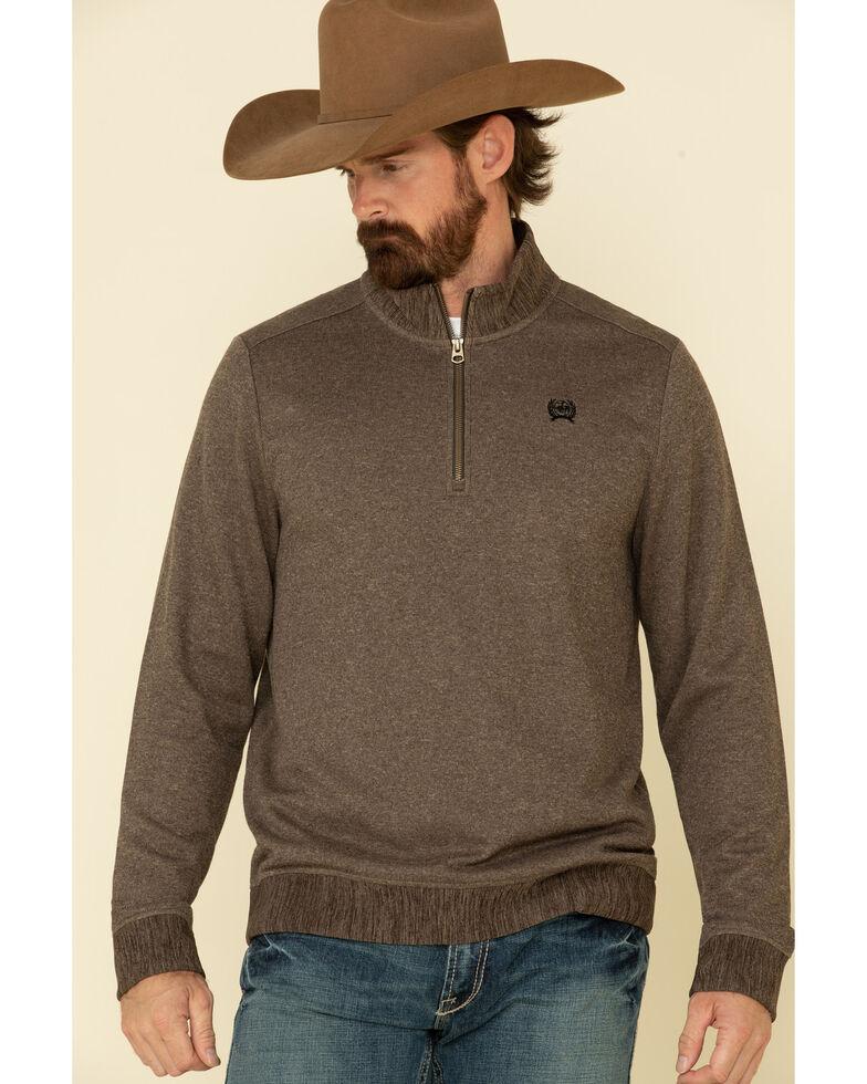 Cinch Men's Brown 1/4 Zip Sweater Knit Pullover Sweatshirt , Brown, hi-res