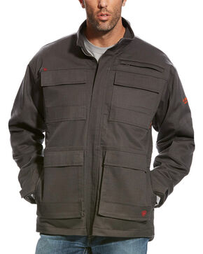 Ariat Men's FR Dark Grey Canvas Stretch Jacket, Dark Grey, hi-res