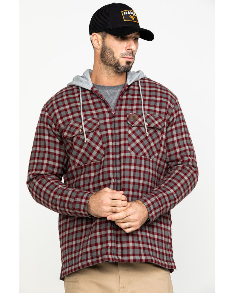Wrangler Riggs Men's Mohangany Hooded Flannel Work Jacket , Mahogany, hi-res