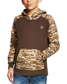 Ariat Boys' Brown Patriot Desert Camo Hoodie , Brown, hi-res