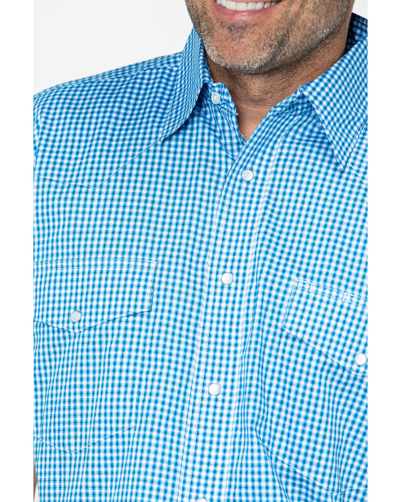 Wrangler Men's Wrinkle Resist Mini Check Plaid Short Sleeve Shirt , Blue, hi-res