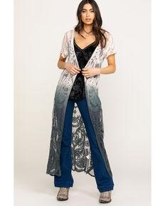 Origami Women's Dip Dye Lace Duster Kimono, Grey, hi-res