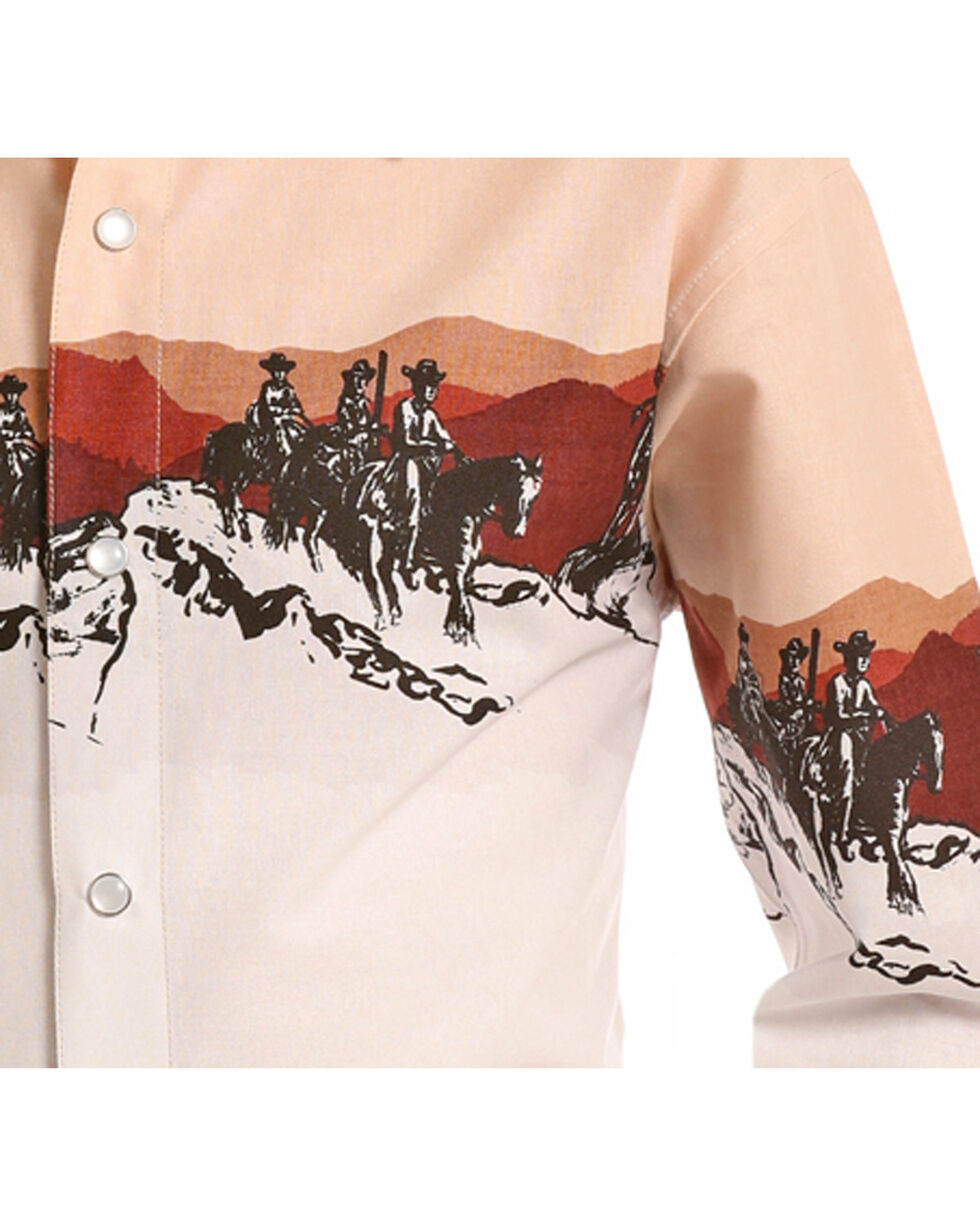 Panhandle Boys' Scenic Border Print Long Sleeve Snap Shirt, Beige/khaki, hi-res