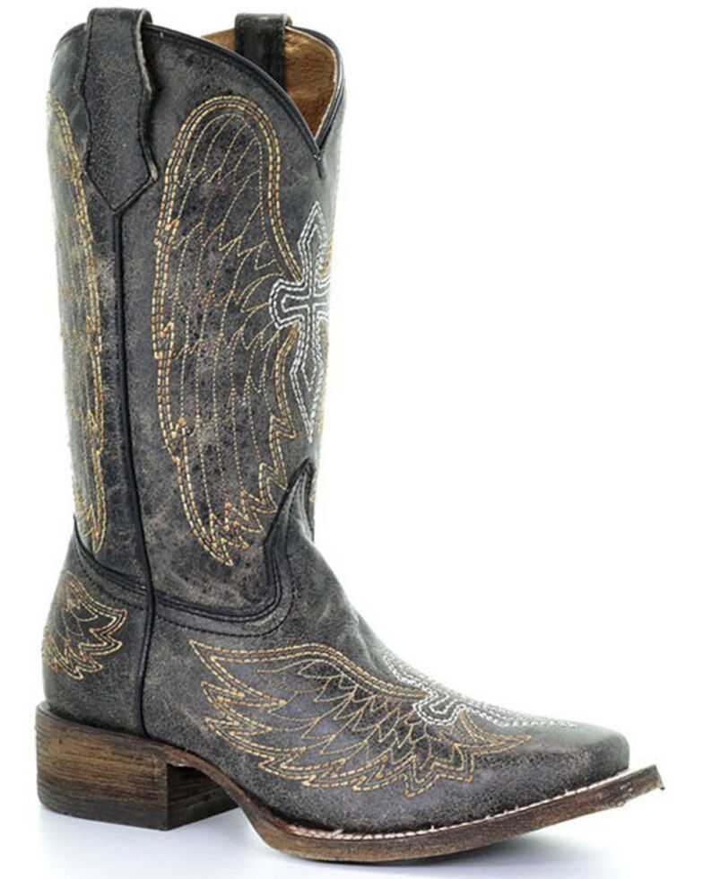 Corral Youth Boys' Goldie Winged Western Boots - Square Toe, Black, hi-res