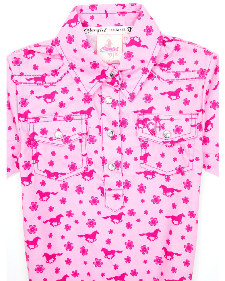 Cowgirl Hardware Infant Girls' Pink Daisy Rider Print Long Sleeve Snap Western Onesie , Pink, hi-res