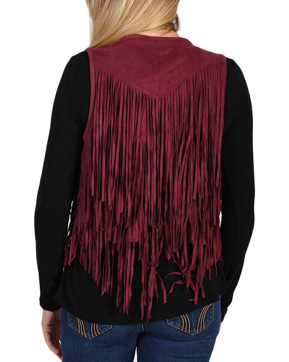 Shyanne Women's Burgundy Faux Suede Fringe Vest, Burgundy, hi-res