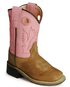 Old West Toddler Girls' Pink Cowgirl Boots - Square Toe, Tan, hi-res