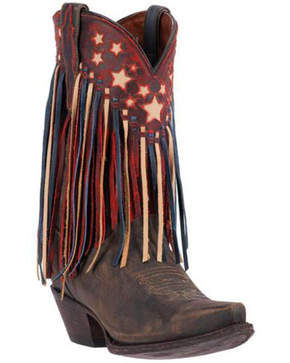 Dan Post Women's Liberty Fringe Western Boots, Brown, hi-res