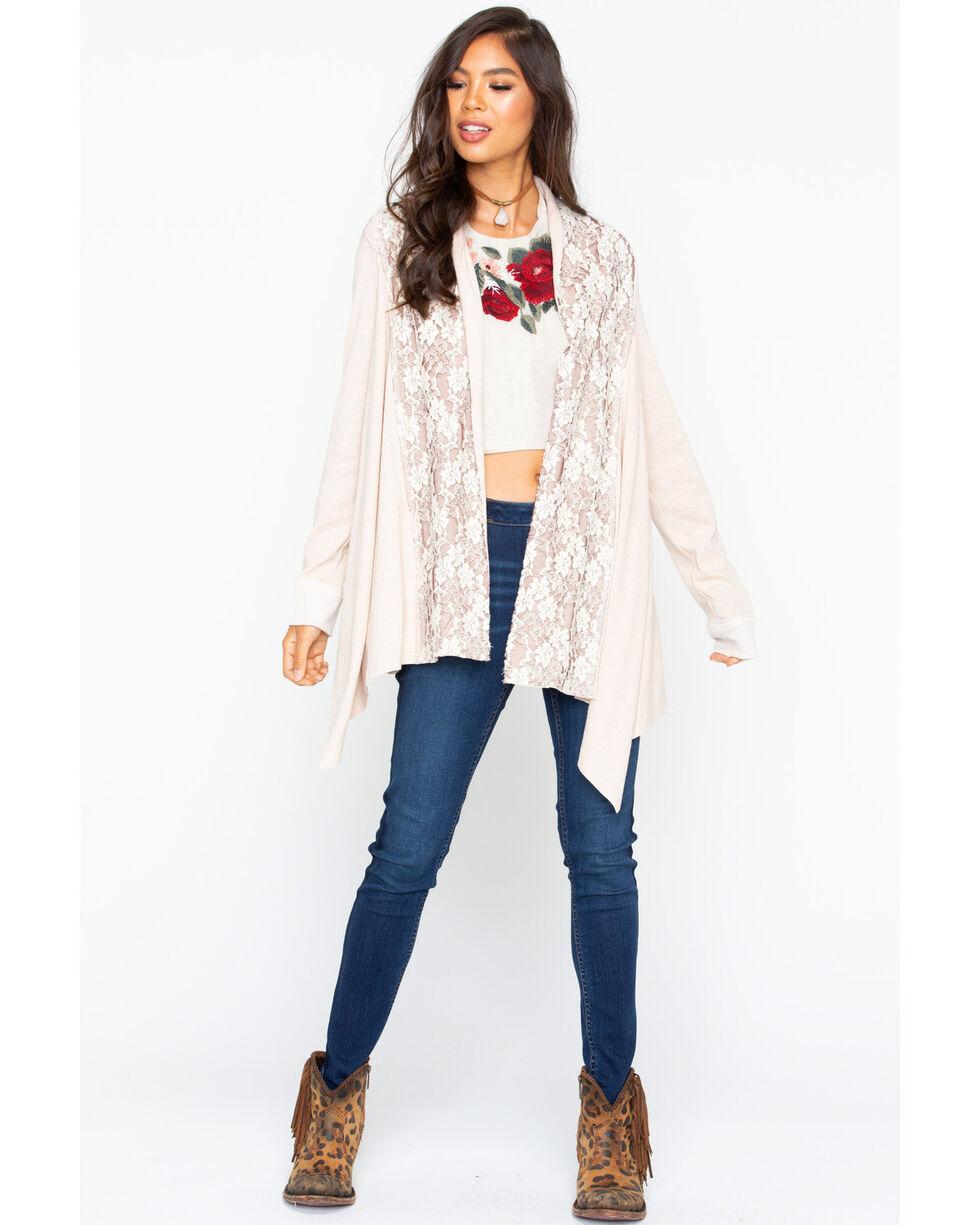 Miss Me Women's Harmony Lace Cardigan, Cream, hi-res