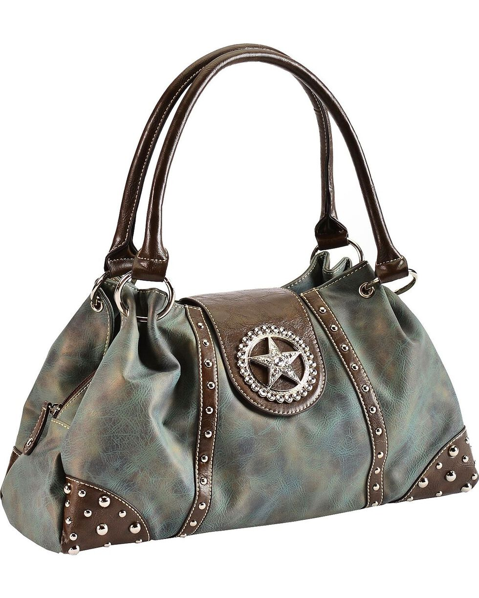 M&F Women's Blazin Roxx Star and Stud Handbag, Blue, hi-res