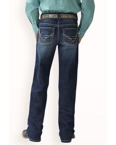 Cinch Boys' Relaxed Dark Medium Stone Boot Jeans , Indigo, hi-res