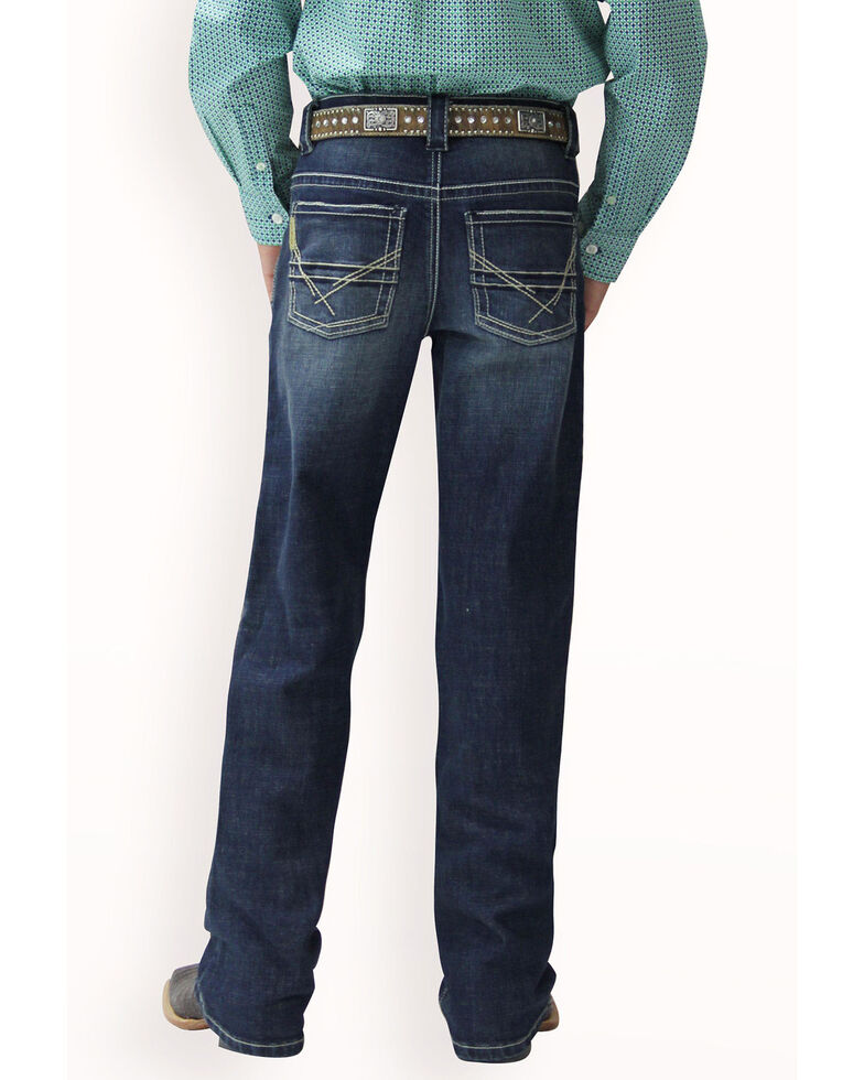 Cinch Boys' Relaxed Dark Medium Stone Boot Jeans , Indigo, hi-res