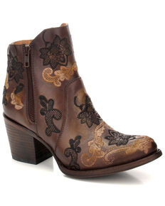Corral Women's Brown Embroidered Western Fashion Booties - Round Toe , Brown, hi-res