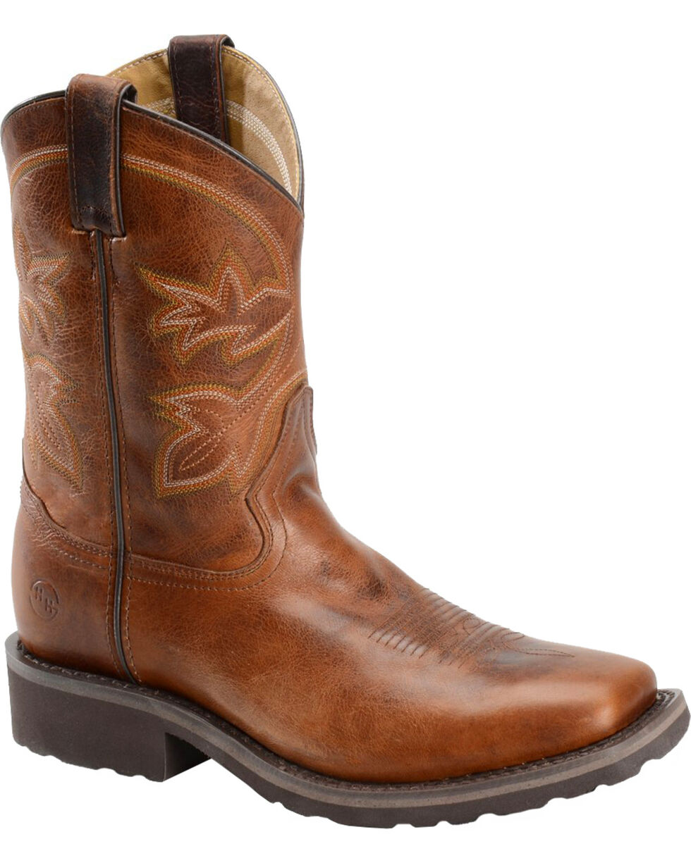"Double H Men's 10"" Super-Lite Roper Boots - Wide Square Toe , Brown, hi-res"