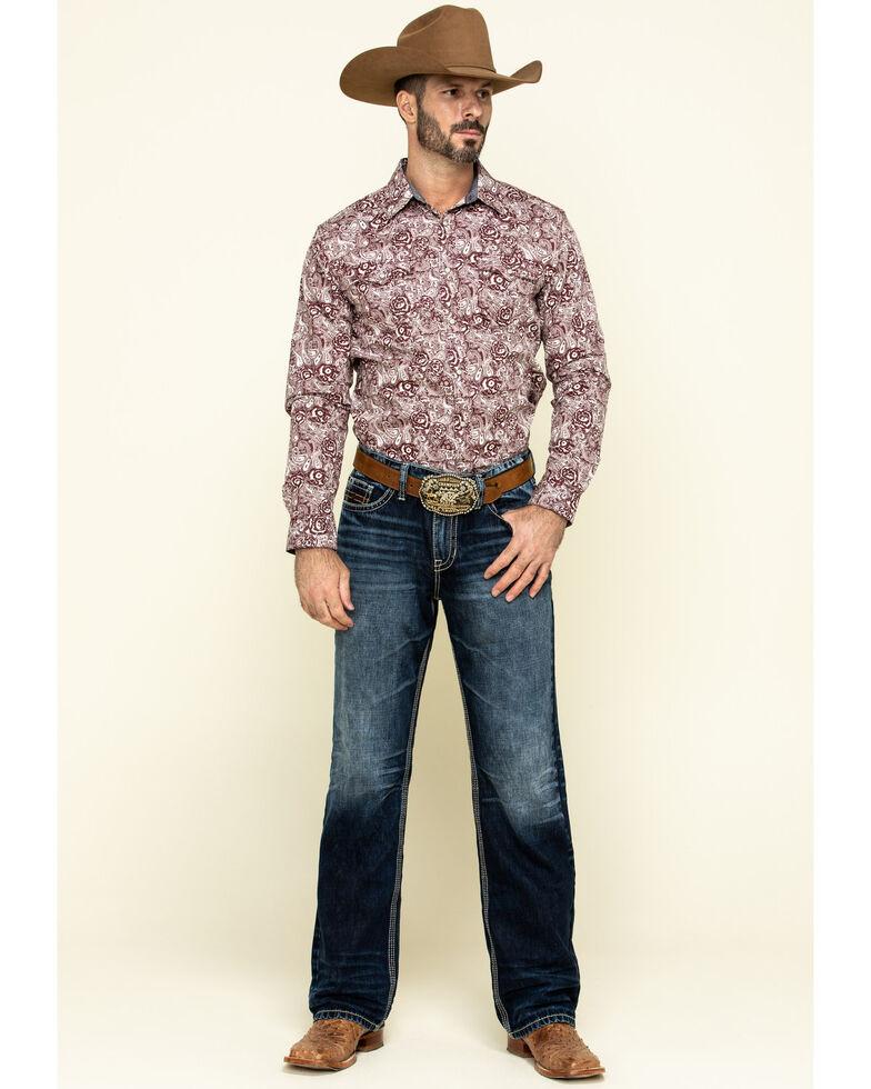 Cody James Men's Amarillo Large Floral Print Long Sleeve Western Shirt , Maroon, hi-res