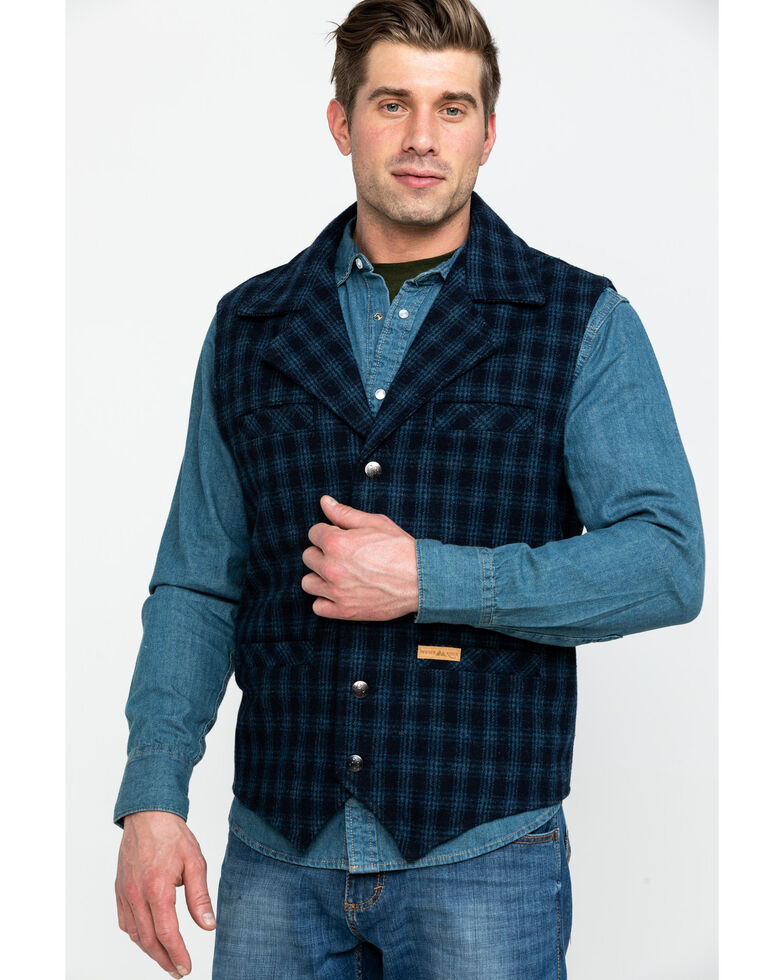 Powder River Outfitters Men's Wool Checked Vest , Blue, hi-res