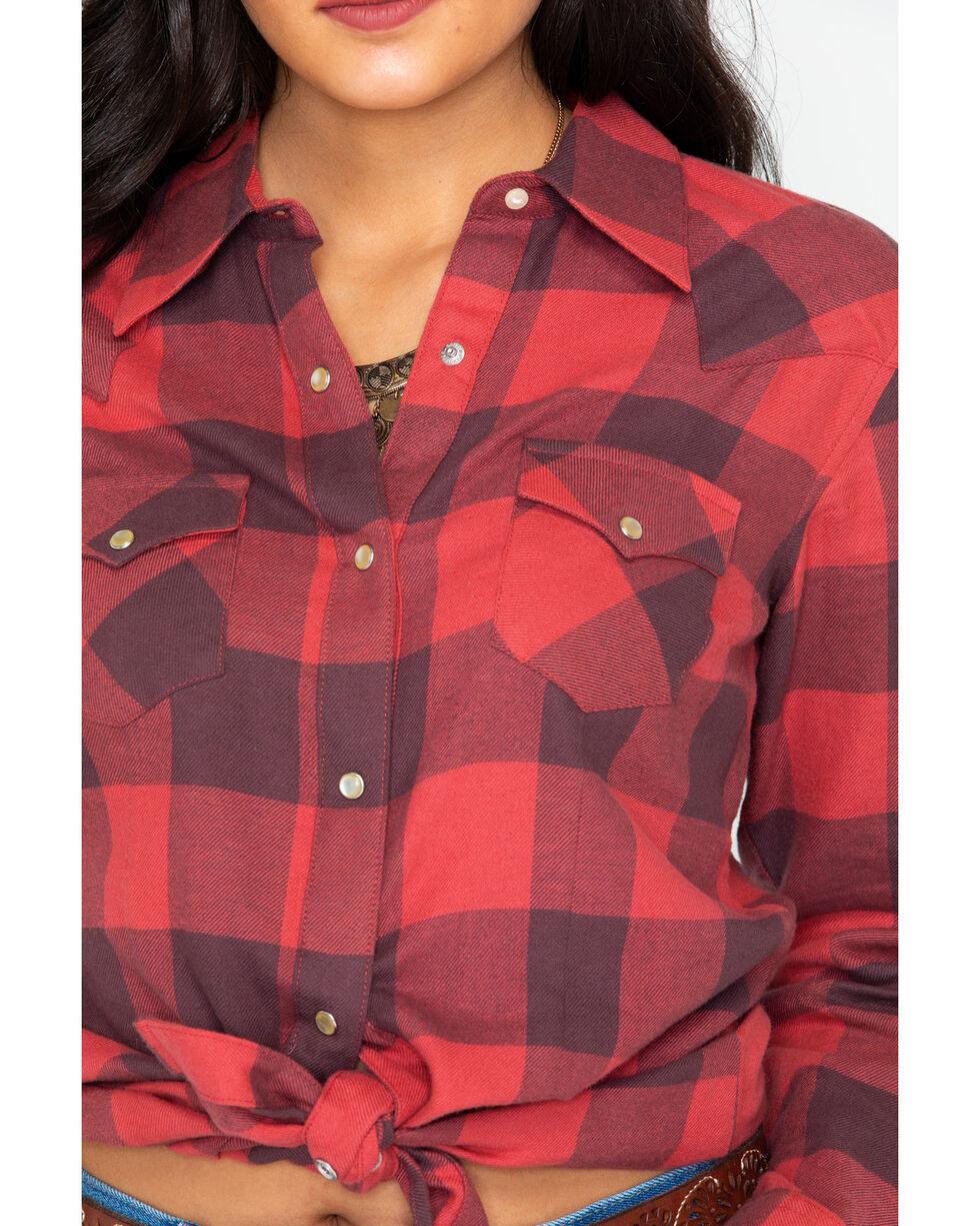 Wrangler Women's Buffalo Plaid Flannel Shirt , Red, hi-res