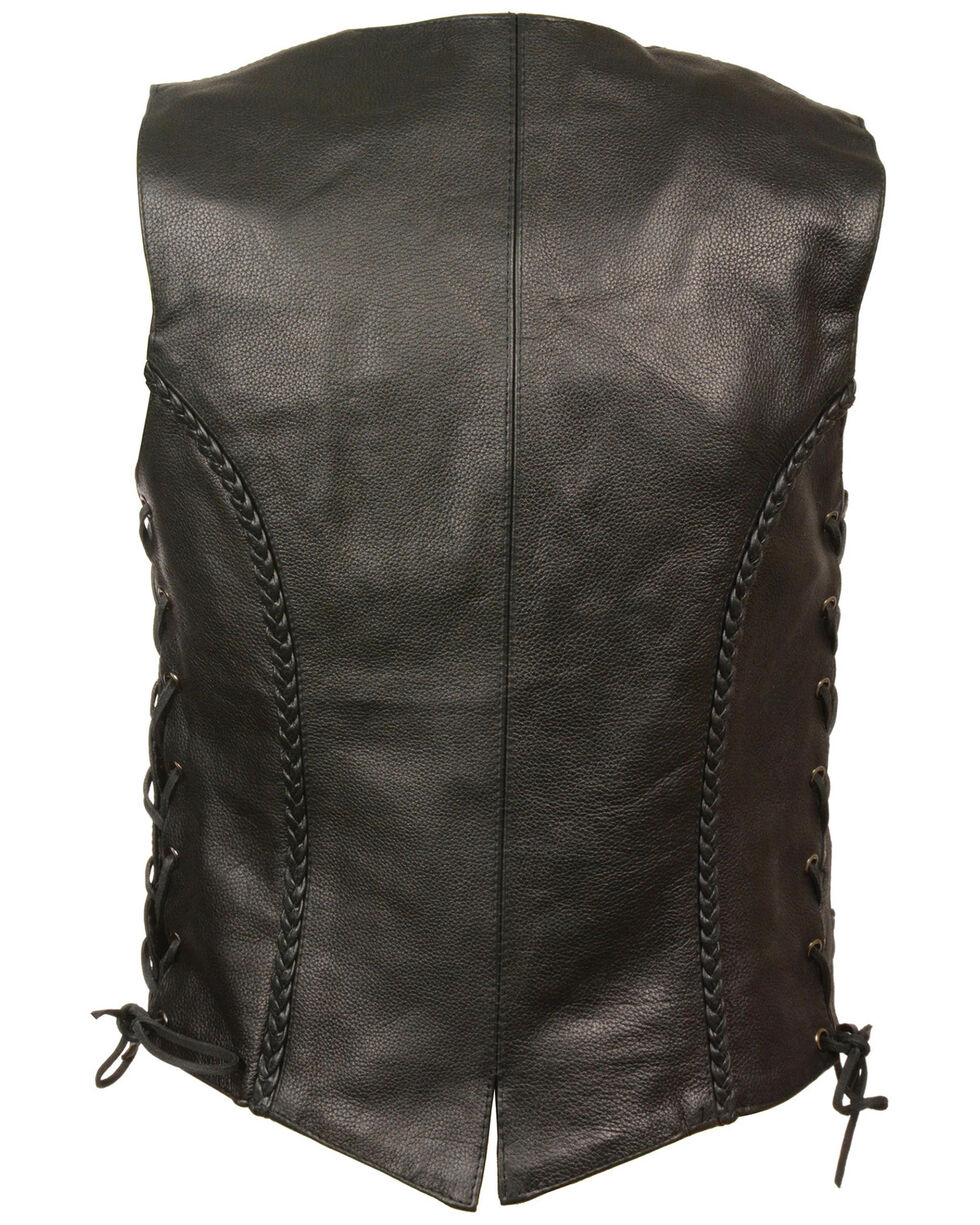 Milwaukee Leather Women's Braided Side Lace Vest, Black, hi-res