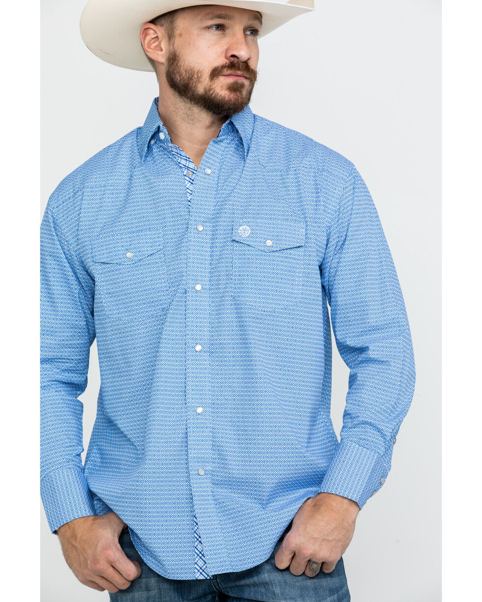 George Strait By Wrangler Light Blue Geo Print Long Sleeve Western Shirt , Light Blue, hi-res