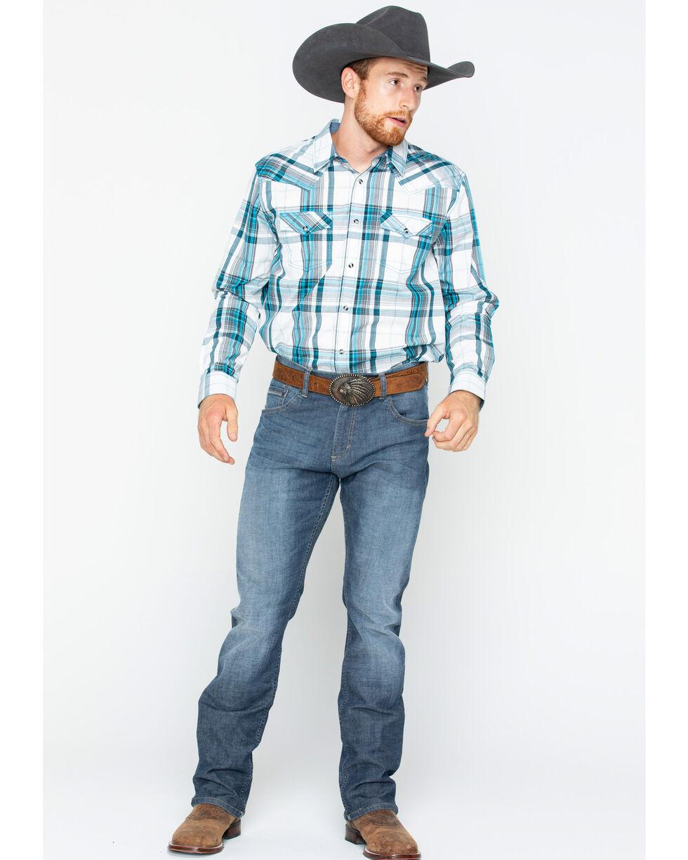Cody James Men's Rory Plaid Long Sleeve Western Snap Shirt, White, hi-res