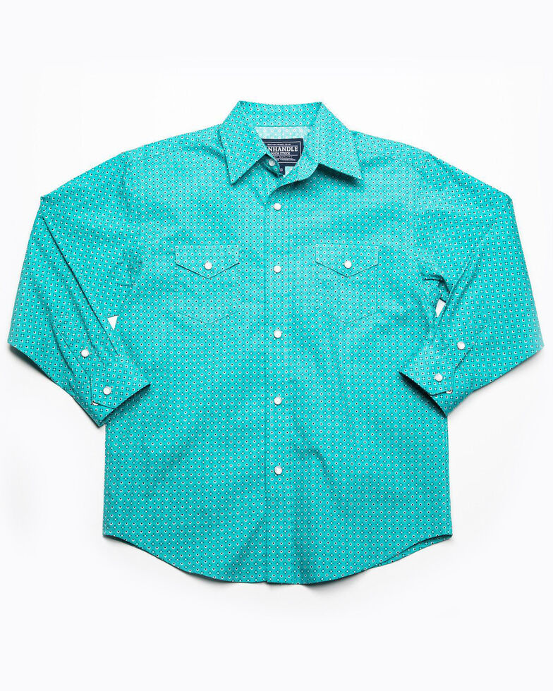 Rough Stock By Panhandle Boys' Sansome Vintage Print Long Sleeve Western Shirt , Teal, hi-res