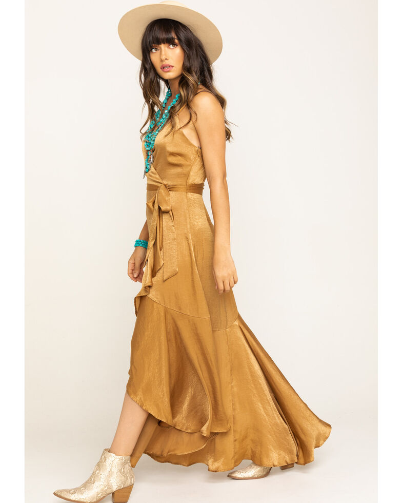 Flying Tomato Women's Bronze Stain Wrap Dress, Bronze, hi-res