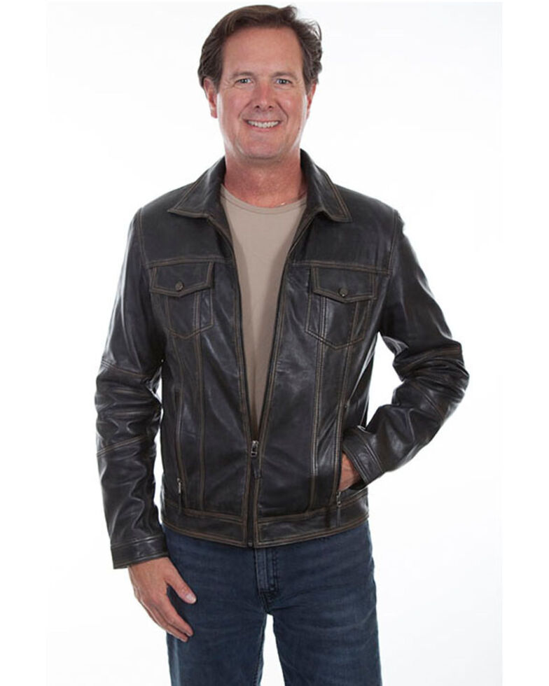 Scully Leatherwear Men's Black Vintage Leather Jacket , Black, hi-res