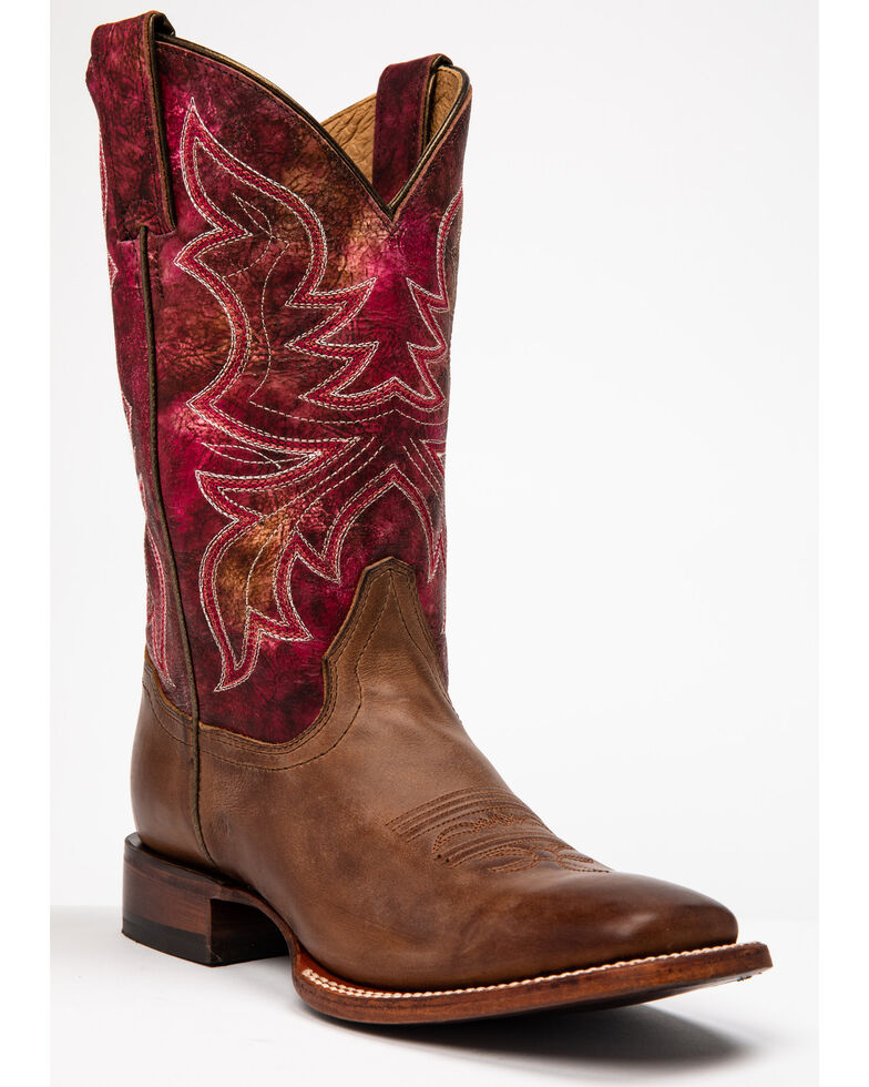 Shyanne Women's Stryke Western Boots - Wide Square Toe, Brown/pink, hi-res