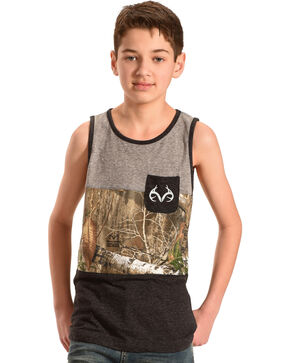 Realtree Boys' Camo Tank Top, Grey, hi-res