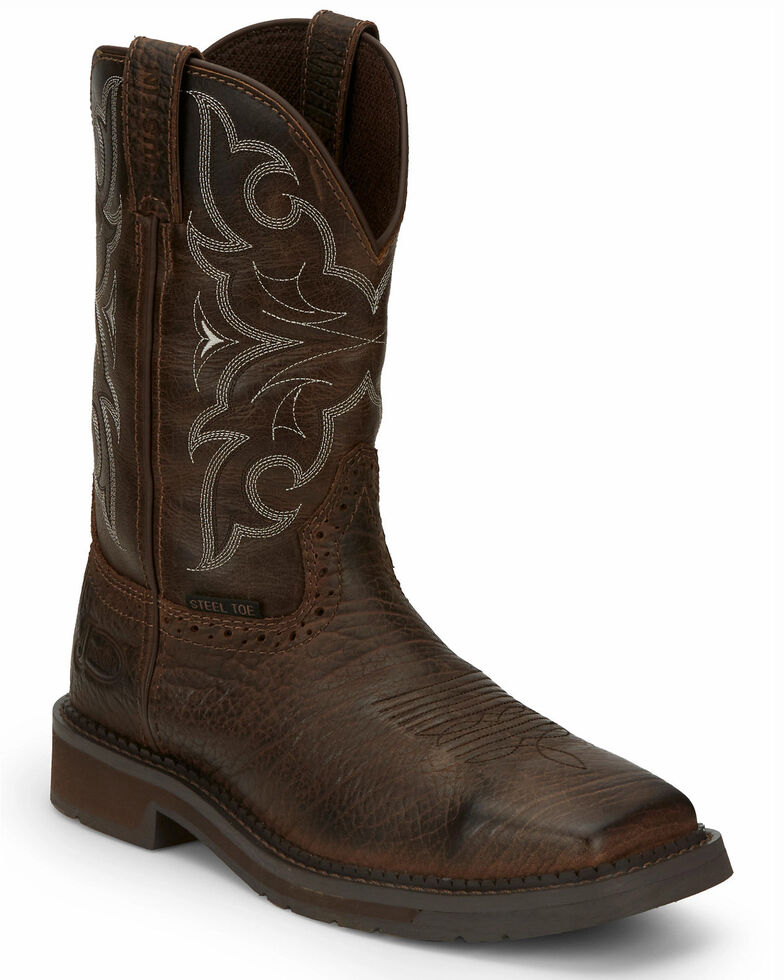 Justin Men's Amarillo Cactus Western Work Boots - Steel Toe, Brown, hi-res