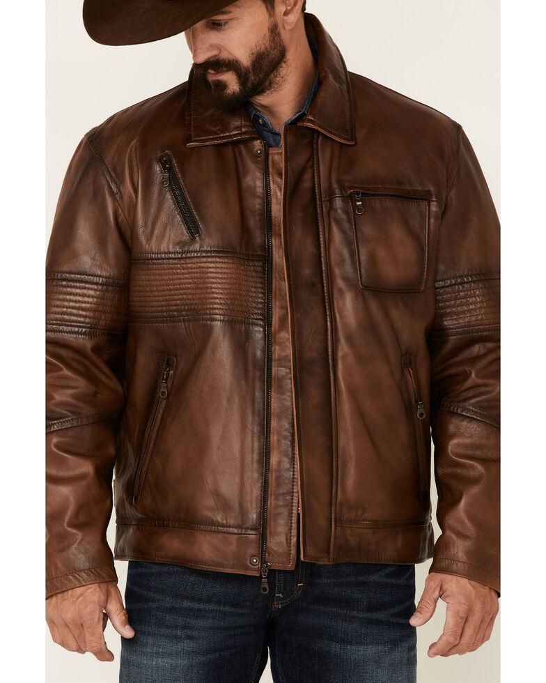 Cripple Creek Men's Vintage Brown Lamb Nappa CC Leather Jacket , Brown, hi-res