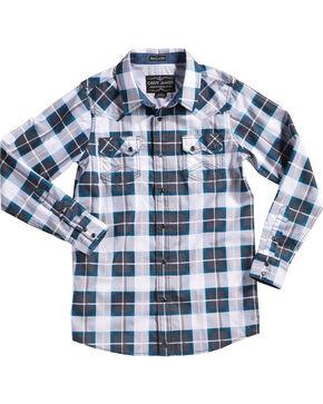 Cody James Boys' Great Lakes Plaid Long Sleeve Shirt, Navy, hi-res