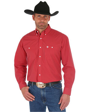 George Strait by Wrangler Men's Red Print Long Sleeve Western Shirt, Red, hi-res