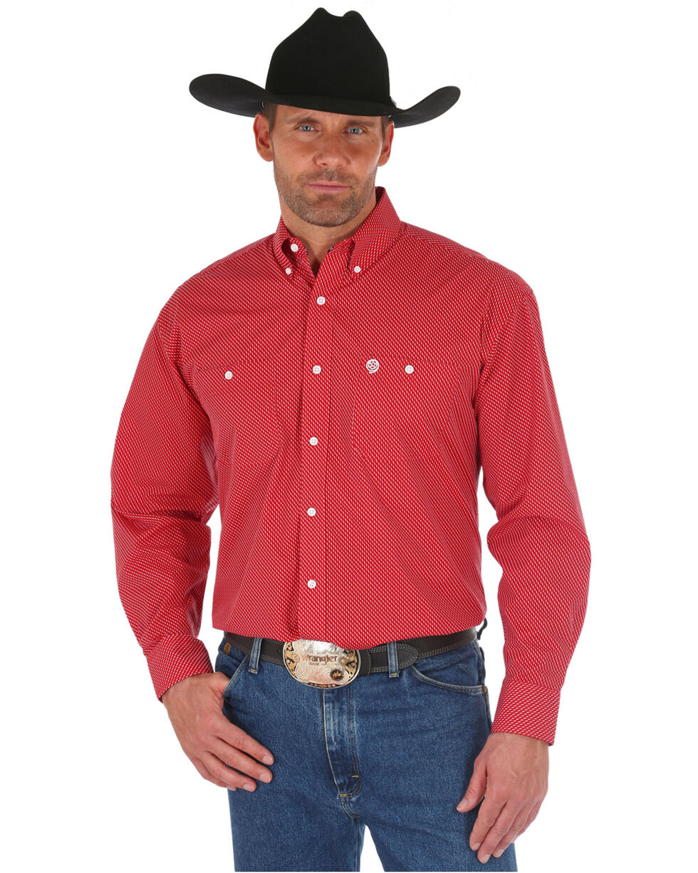 Wrangler George Strait Men's Red Print Long Sleeve Western Shirt, Red, hi-res