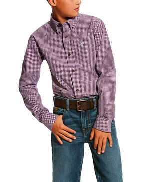 Ariat Boys' Doug Stretch Print Long Sleeve Western Shirt , Purple, hi-res