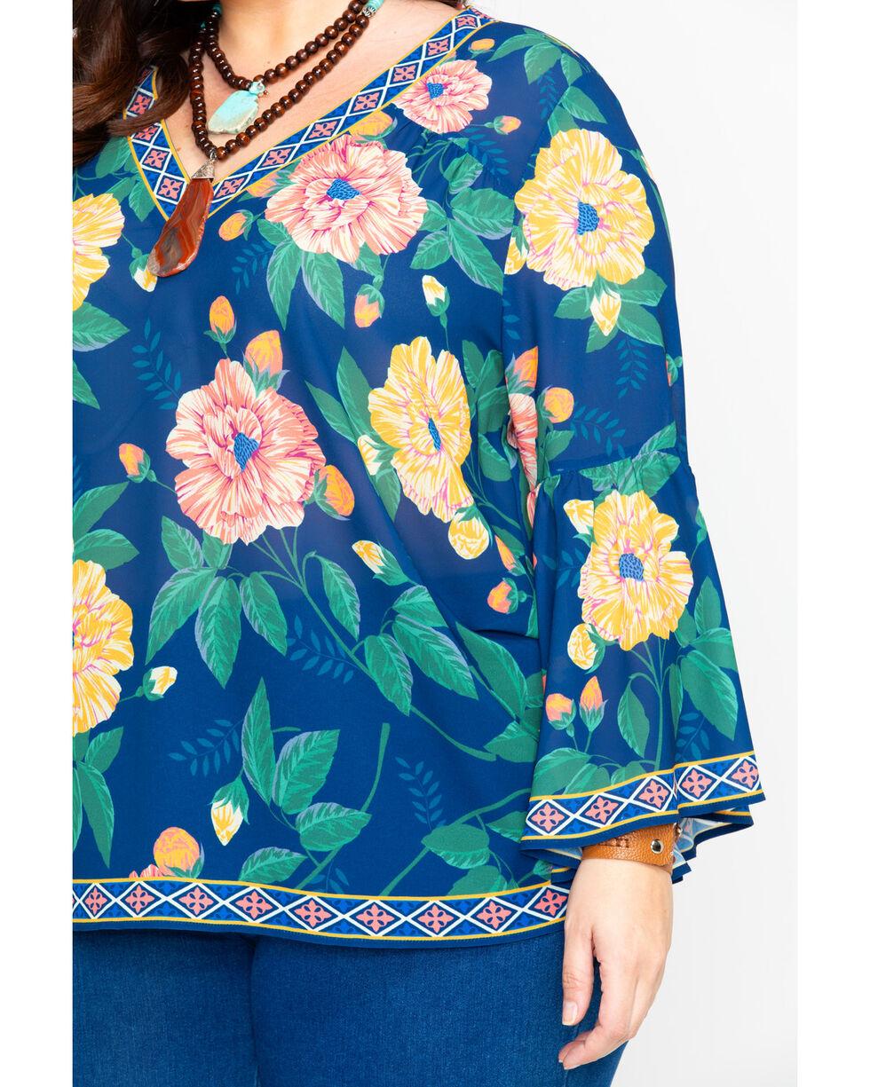 Flying Tomato Women's Floral Print V-Neck Blouse - Plus , Navy, hi-res